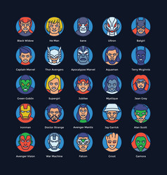 Superheroes and villains flat icons set vector
