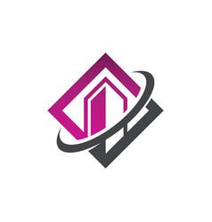 Swoosh modern building icon vector