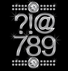 thin metal diamond letters and numbers big and sma vector image