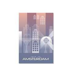 Trip to amsterdam travel poster template vector