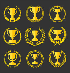trophy and awards retro vintage collection 2 vector image