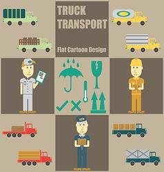 Truck Transport People Flat Cartoon vector image