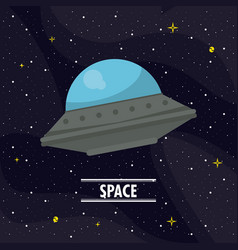 ufo flying in the space vector image