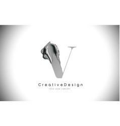 V letter design brush paint stroke black letter vector