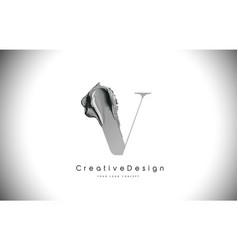 v letter design brush paint stroke black v letter vector image