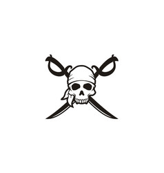 vintage pirates skull crossing swords emblem logo vector image
