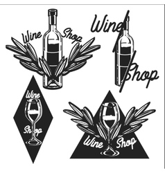 Vintage wine shop emblems vector image