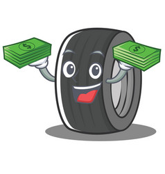 With money tire character cartoon style vector