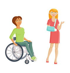 Women with disabilities - broken arm and vector