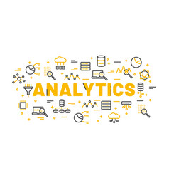 words analytics surrounded by icons vector image