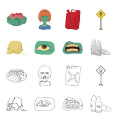 zombies and attributes cartoonoutline icons in vector image