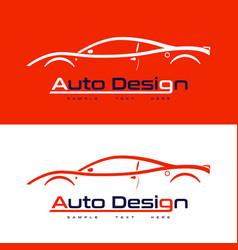 automotive logo design with sports car vector image vector image