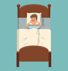 cartoon man sleep lying in bed vector image vector image