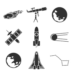 Icons of space and astronomy vector image vector image