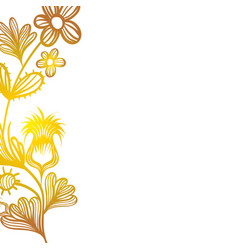 natural branches flowers with leaves decoration vector image