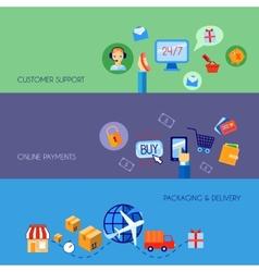 Shopping e-commerce banner set flat vector image