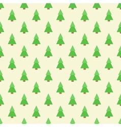 Flat design green christmas trees seamless pattern vector image