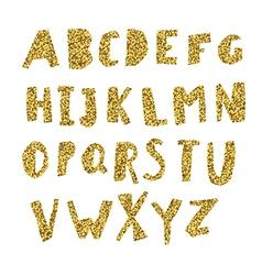 Gold alphabet cut letters from golden foil vector