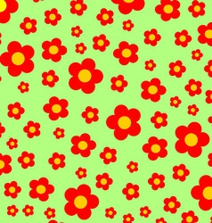 Green meadow with red flowers background vector image vector image