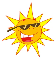 hot sun with shades cartoon character vector image vector image