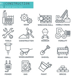 industry construction thin line icons set vector image vector image