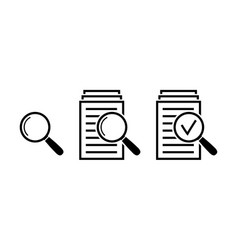 magnifying glass icon set search documents signs vector image vector image