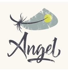 T-shirt printing logo template Angel Hand drawn vector image