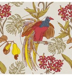 Tropical flowers birds vector image vector image