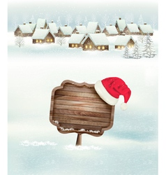 Winter holiday christmas background with a village vector image vector image