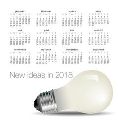 2018 idea and light bulb calendar vector image
