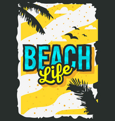 beach summer poster design with palm leaves vector image vector image
