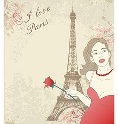 Beautiful girl in Paris vector image
