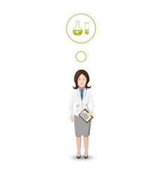 Flat character chemist with profession icon vector image