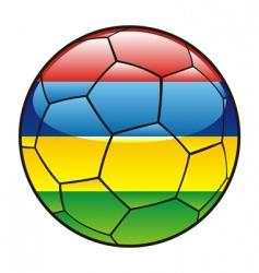 mauritius flag on soccer ball vector image vector image