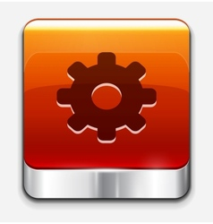 Red glossy settings button icon vector image vector image