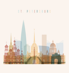st petersburg skyline detailed silhouette vector image