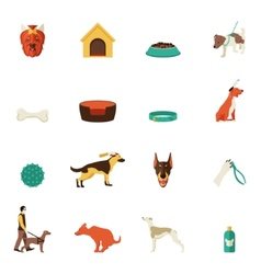 Dog icons flat vector image