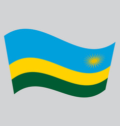 flag of rwanda waving on gray background vector image vector image