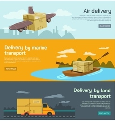 Flat banners set of maritime rail and air vector image vector image