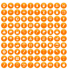 100 eco design icons set orange vector