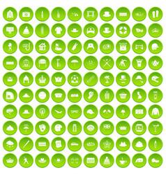 100 hat icons set green circle vector