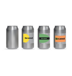 A set aluminum cans for drinks vector