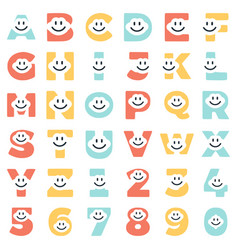 A set of funny letters and numbers of characters vector