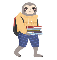 a sloth schoolboy with stack books in hands and vector image