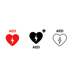 aed icon emergency defibrillator sign or icon aed vector image