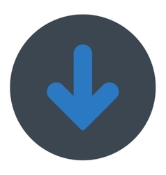 Arrow Down flat smooth blue colors round button vector