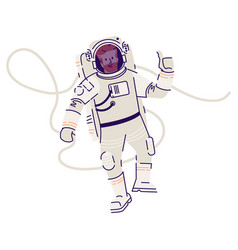 Astronaut in spacesuit floating flat male vector