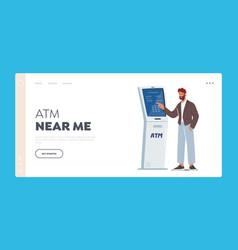 Atm transaction landing page template man insert vector