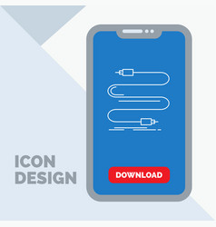 audio cable cord sound wire line icon in mobile vector image