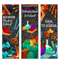 Back to school sale banner with special offer vector